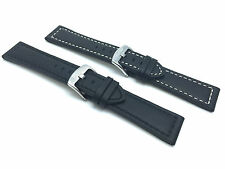 Black Leather Watch Strap Band, 20mm, 22 24 26 28mm fits Fossil, Hamilton & More