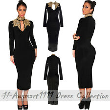 Sexy Work Wear Formal Party Dress Black Long Sleeve Gold Sequin Midi Bodycon