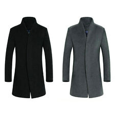 Mens Stylish Wool Blend Overcoat Jacket Mid Long Button Trench Coat Outerwear