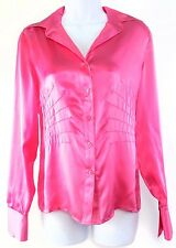 Transitions 100% Silk Blouse Shirt Top Long Sleeve Pink Womens Size 4 New