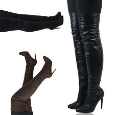 New Womens Over The Knee High Stretch Leg High Heel Thigh High Boots Size 3-8