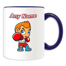 Personalised Gift Boxer Boy Mug Money Box Cup Kung Fu Boxing MMA Name Tea Coffee