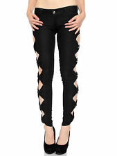 Sexy Vintage Woman Side Bow Cutout Ripped Denim Jeans Jeggings Trousers Pants