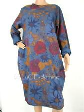 NEW Italian Oversize Retro Floral Lagenlook Long Sleeve Pocket Jersey Tunic