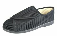 Ladies Perforated Velcro Extra Wide Fit Slippers Shoe Black Washable 4 5 6 7 8