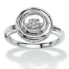 PalmBeach Jewelry Diamond Accent in Motion Platinum over .925 Silver Halo Ring