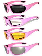 Choppers Pink Sunglasses Padded Motorcycle Riding Glasses Googles Wind Resistant