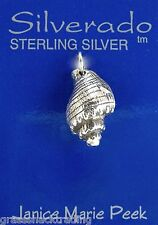 SEA SHELL 3D Solid Sterling Silver Pendant Charm w/ Options #1830