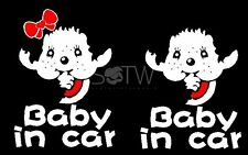 15cm Baby in car Sticker monchichi boy girl reflective warning sign motor decal