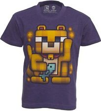 Minecraft T-shirt Mine Craft Tshirt STAMPY CAT LUCKY OCELOT Red Purple or Blue