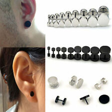 Hot 1Pair Punk Jewelry Stainless Steel Round Plain Men Ear Stud Barbell Earring