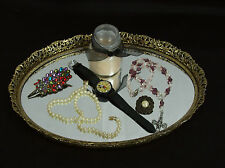 "Gold Toned Vanity Dresser Perfume Tray Oval Mirrored Filigree Edge 12 1/2"" x 9"""