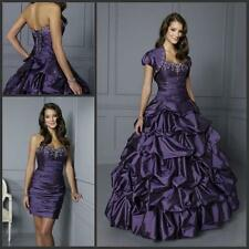 Elegant Purple Taffeta Quinceanera Dress Pageant Ball Gown Beads Prom Gowns 2016