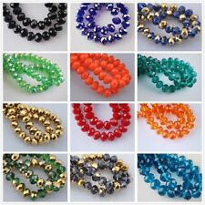 Lots 70 Pcs Faceted Crystal Glass Loose Beads Rondelles 8mm Jewelry Findings DIY