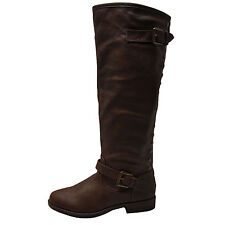 Bamboo Montage 83 Brown Women's Studded Tall Equestrian Boots