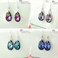 925 Sterling Silver Teardrop Hook Earrings made with Swarovski Crystals