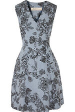 New LELA ROSE Floral print cotton jacquard sky blue grey black  dress  6