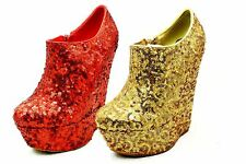 Ladies sequined platform high heel wedge ankle boots