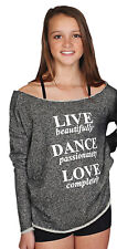 "Black French Terry ""Live Dance Love"" Dance Sweat Shirt Junior Adult Sizes New"