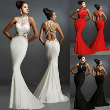 Sexy Backless Floral Slim Maxi Formal Prom Wedding Party Gown Evening Long Dress