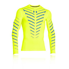 Under Armour Infrared Crew Mens Yellow Green Coldgear Compression Running Top