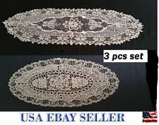 New 3Pc Delicate Oval Doilies Crochet Table Runner With 2 Matching Oval Doilies