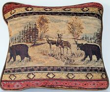 wildlife bear animal cabin rustic animal pillow with pipingfor couch sofa chair