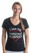 I love my Awesome Husband!   Cute Marriage Hubby Heart Ladies' V-neck T-shirt