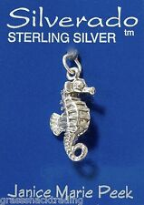 SEAHORSE 3D Solid Sterling Silver Pendant - Charm w/ Options #1950