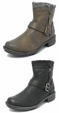 Womens Cats Eyes Leather Look Biker Ankle Boots Fur Black Brown Size 3 4 5 6 7 8