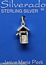 WISHING WELL 3D Solid Sterling Silver Pendant - Charm w/ Options #2197