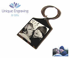 Personalised Photo Engraved Keyring Keychain - Great Fathers Day Gift!