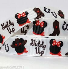 "GROSGRAIN RIBBON 7/8"" MINNIE MOUSE GIDDY UP P23 PRINTED BULK 1,3,5 Yds"