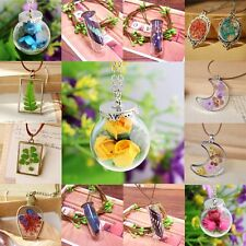 Handmade Glass Dried Real Dandelion Seed Flower Butterfly Wish Pendant Necklace