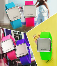 2015 NEW Classical Mirror Face LED Date Sport Rubber Digital Wrist Watch Gifts