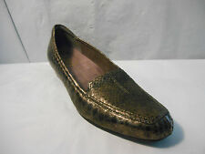 Clarks Brown Metallic Snake Print Leather Loafer Slip On Shoes Women's Size 9 M