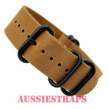ZULU 5 ring VINTAGE TAN BROWN LEATHER  Black PVD military watch band strap