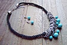 Dangle Bead Rings Rope Cord Statement Necklace Earrings Set Boho Fashion Jewelry