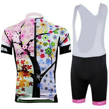 New Women's Colorful Tree Cycling Bicycle Bike Short Sleeve Jersey (Bib) Shorts