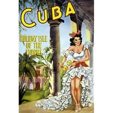 1950 Cuba Holiday Isle Of The Tropics Vintage Cuban Travel Poster Reproduction