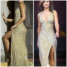 NWT PRIMAVERA COUTURE 9684 PAGENT GOLD OPEN BACK  BEADED GOWN SZ 0.2.4.6.8.10