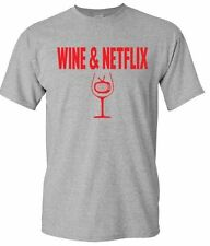 Mens T Shirt Wine And Netflix Unisex Shirt Gift For Boyfriend Crewneck Tee Grey