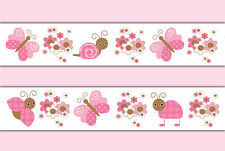 Butterfly Ladybug Wallpaper Border Wall Decals Pink Girl Floral Nursery Stickers
