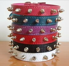NEW Croc Pu Leather Spiked Studded Dog Collar Puppy Dog Cat Pet Collar S M L XL