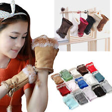 Pop Winter Warm Rabbit Fur Leather Lady Fingerless Suede Mittens Wrist Gloves