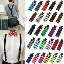 Mens Womens Clip-on Y-Shape Suspenders Elastic Adjustable Braces 27 Colors
