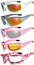 1 Pair Women Pink Biker Motorcycle Padded Glasses Smoke Clear Night Driving lens