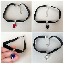 Lady Girls Velvet Choker Necklace Retro Love Heart Multicolor Crystal Pendant