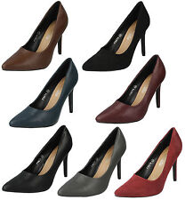 LADIES SPOT ON STILETTO HIGH HEEL POINTED TOE SLIP ON COURT SHOES F9674