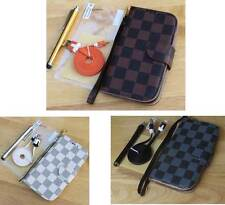 Luxury PU Leather Wallet Stand Flip Pouch Grid Case Cover For iPhone 6 6s Plus